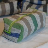 Blau-Grün-Beige Kulturtasche