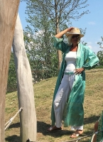 türkis-silberfarbener Kimono